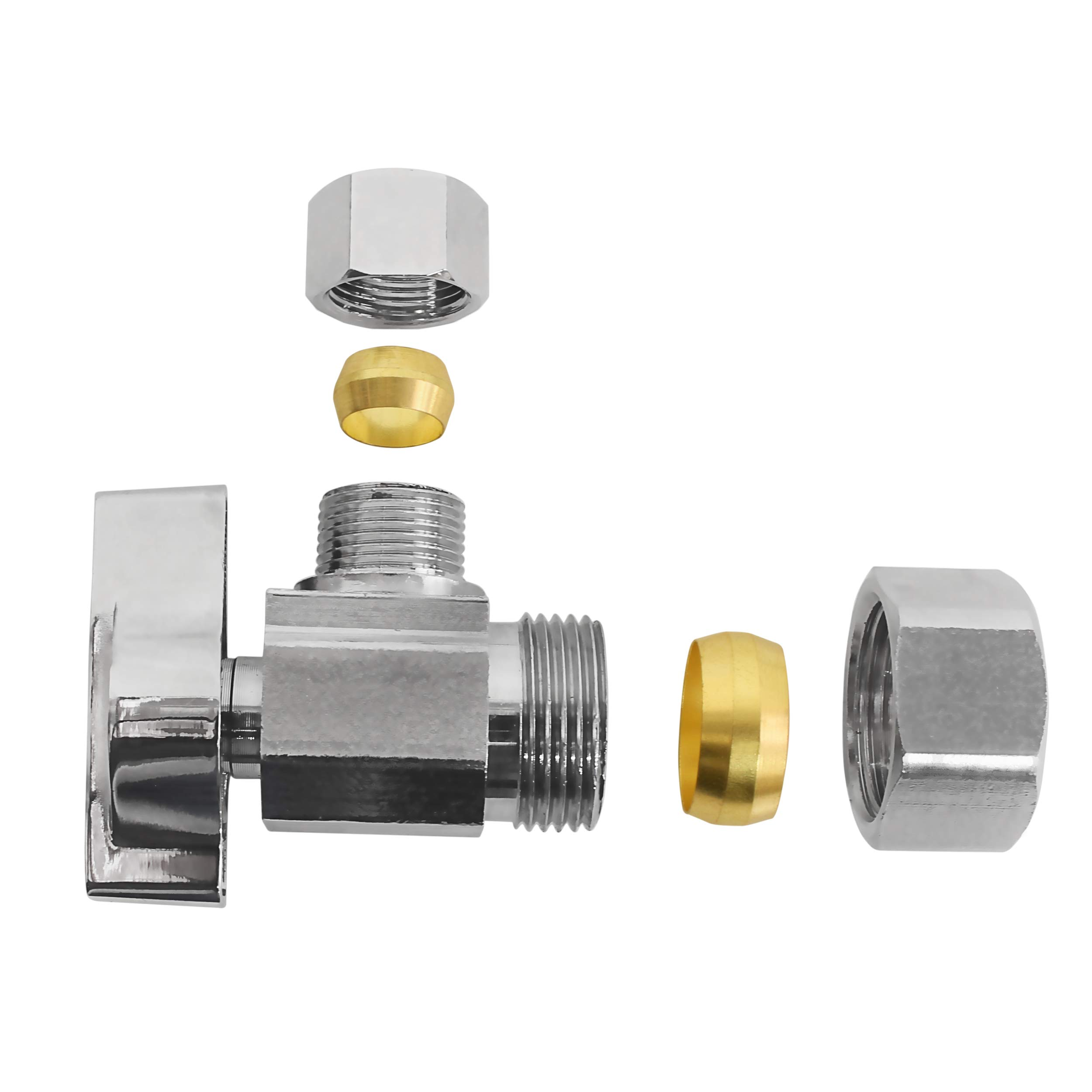 Heavy Duty Squared Body 1/2 in. NOM Comp Inlet x 3/8 in. OD Compression Outlet Chrome Plated Brass 1/4 Turn Angle Stop Valve (5 Pack) by Miiflex (Image #4)