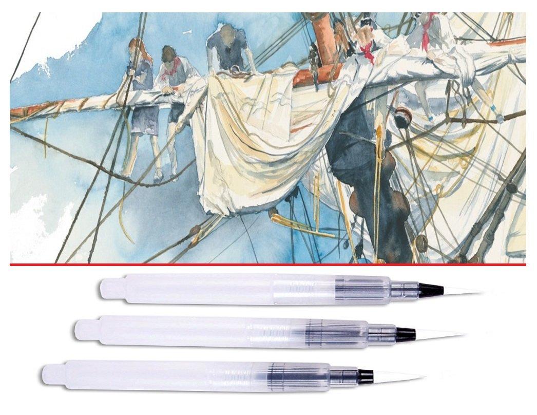 Pinceaux Pointes Fine//Moyenne//Large Lot de 3 Water Brush EMI Craft Set 3 pinceaux de Voyage Aquarelle /à r/éservoir deau