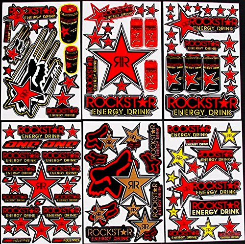 6 Sheets Motocross stickers krr Rockstar bmx bike Scooter Moped army Decal MX Promo Stickers bambam
