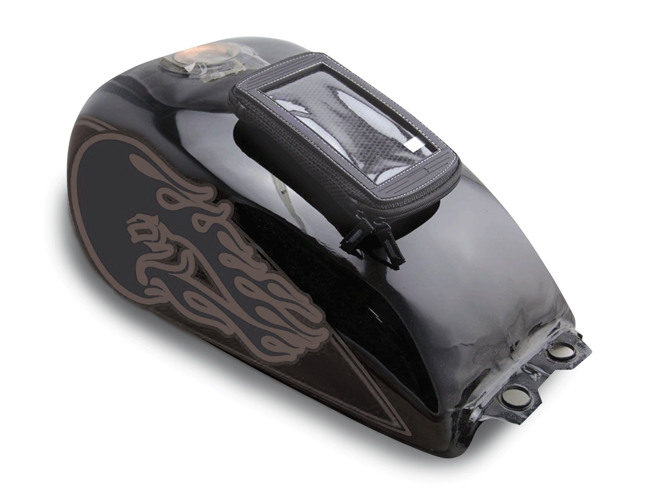 Bikers Shield MP-105 Black 6'' x 1'' x 4'' Magnetic Tank Holder for Smartphones