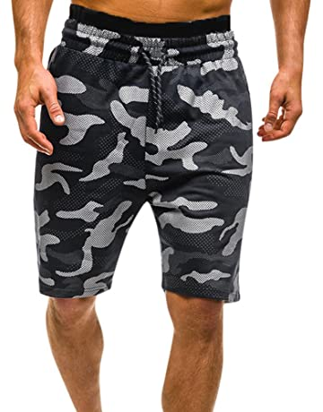 c89ed372bbb JJLIKER Men s Fashion Camouflage Shorts Classic Casual Jogger Gym Workout  Cotton Pants with Elastic Waist Zipper