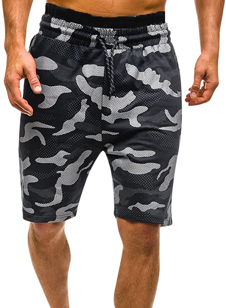 Mens Summer Casual Comouflage Cargo Surf Shorts Pants Drawstring /& Pocket