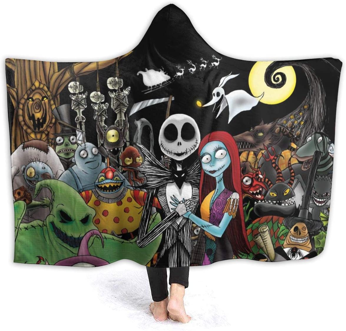 Andea Nightmare Before Christmas Luxury Hooded Blanket Warm Wearable Fashion Novelty Cape Cloak Gift for Kids Adults 80x60 Inch