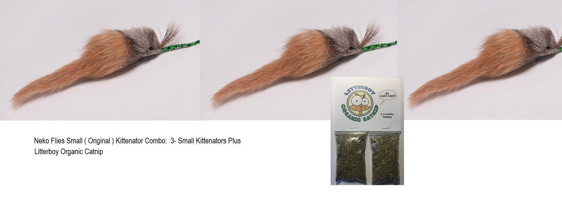 Litterboy Special 3 pack - Small (original) Kittenator Interchangeable Cat Toy - Attachment Only Plus Litterboy Organic Catnip