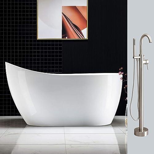 Woodbridge 54 Acrylic Freestanding Bathtub Contemporary Soaking Tub Overflow and Drain BTA1507B,with Brushed Nickel Faucet F0001BN, BTA1507-B F0001