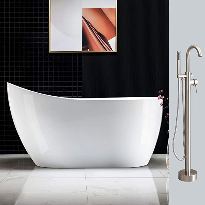 "Best Acrylic Bathtub: WOODBRIDGE B-0006 +F000154"" Tub and Faucet Combo"