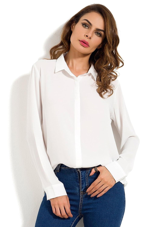 MOQUEEN Womens Long Sleeve Chiffon Blouses Button Down Shirts Loose Casual Tops