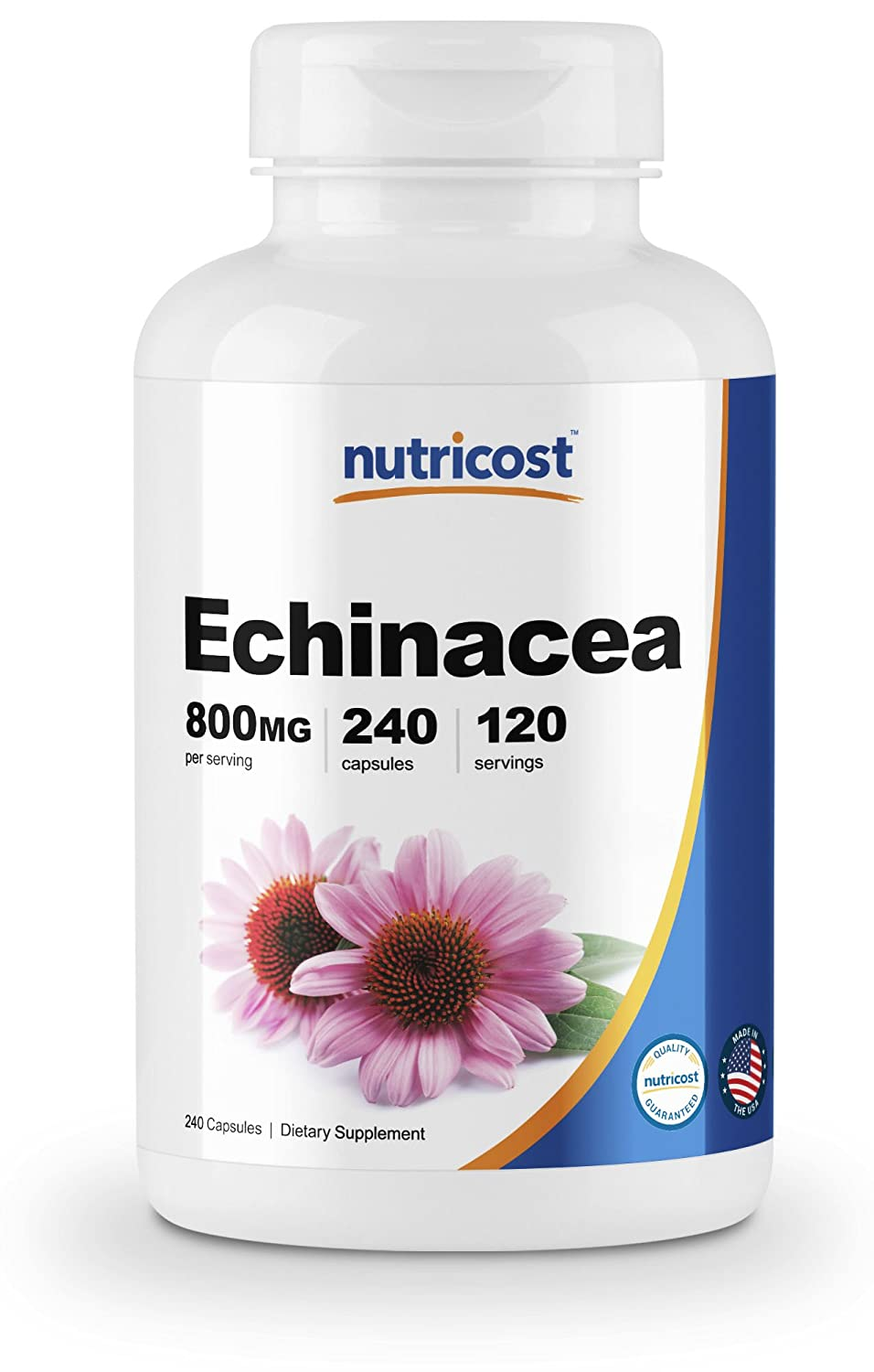 Nutricost Echinacea 800 mg, 240 Capsules - High Quality Veggie Caps, Non GMO, Gluten Free, 120 Servings