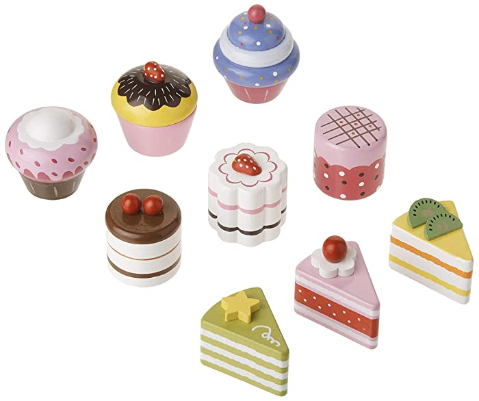Imagination Generation Cupcake and Mini Cake Petit Four Set (9pcs.) Wood Eats! Delectable Desserts Wooden Pretend Play Foods | Imaginative Play Kitchen Toy Accessories in Box