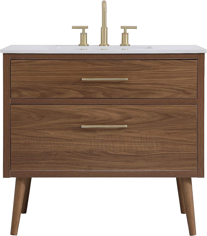 Elegant Decor 36 Inch Bathroom Vanity in Walnut Brown