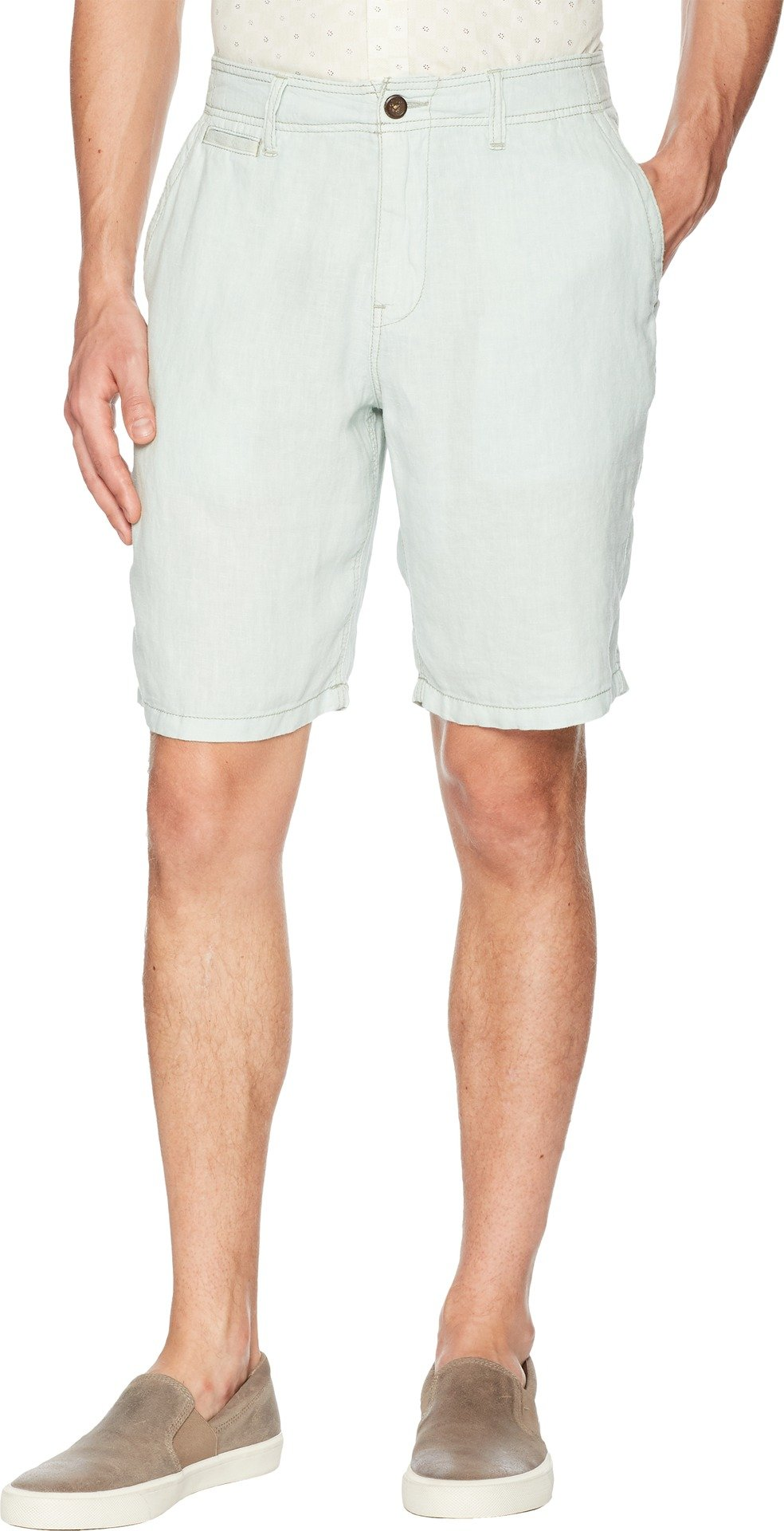 Lucky Brand Men's Laguna Linen Flat Front Short, Surf Spray, 36
