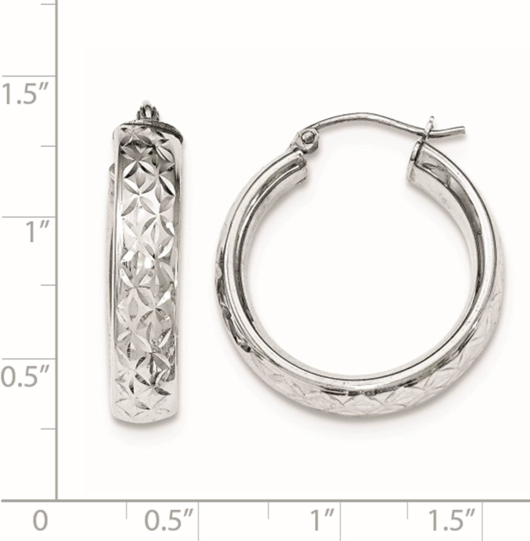 925 Sterling Silver Rhodium-plated Patterned Round Hoop Earrings