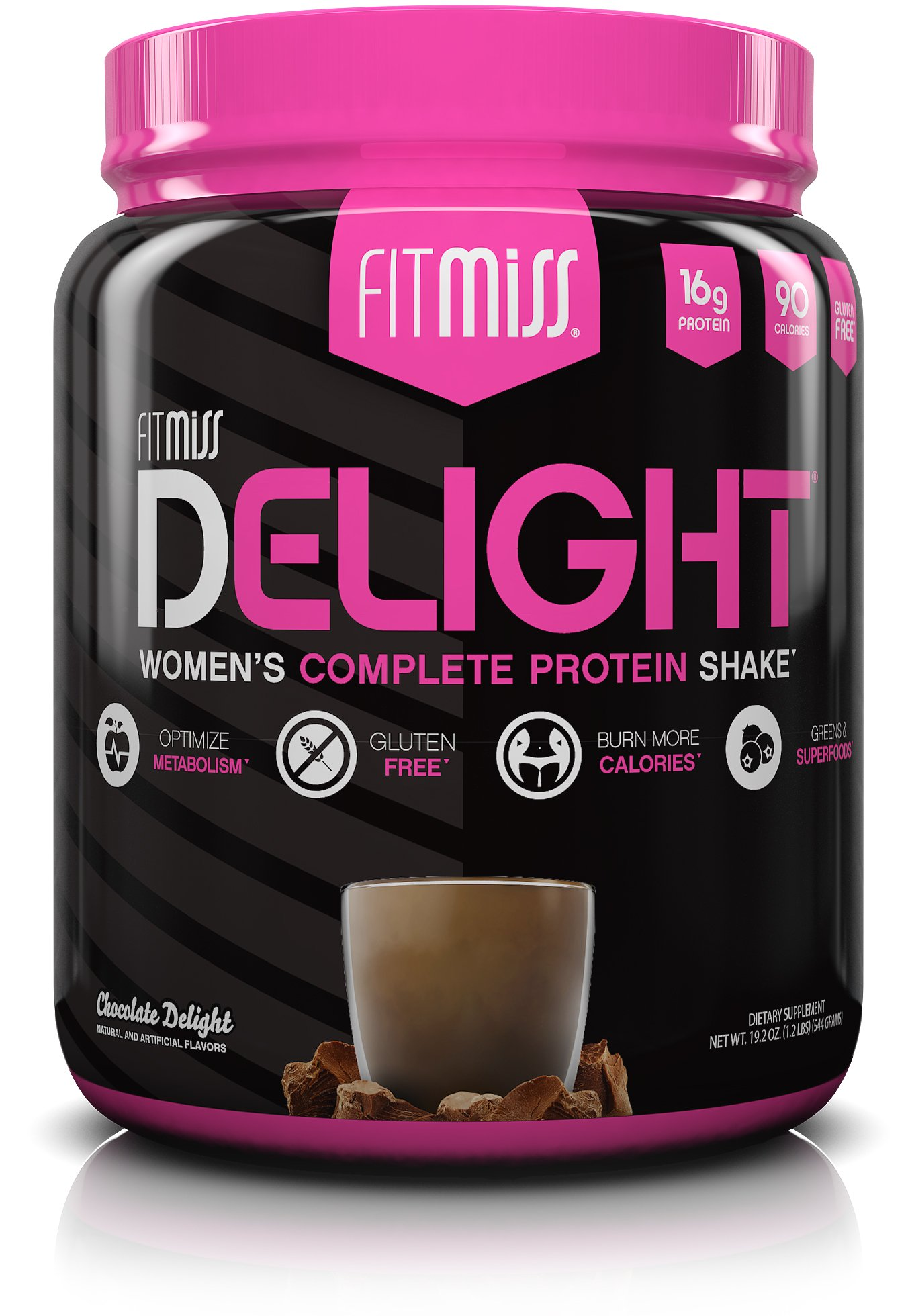 FitMiss Delight Protein Powder, Healthy Nutritional Shake for Women, Whey Protein, Fruits, Vegetables and Digestive Enzymes, Support Weight Loss and Lean Muscle Mass, Chocolate, 1.2 Pound by Muscle Pharm