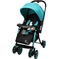 R for Rabbit Poppins Plus Pram- Baby Stroller and Pram for Baby with Mosquito Net and Hanging Toy (Green Black)