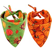 KZHAREEN 2 Pack Thanksgiving Dog Bandana Reversible Triangle Bibs Scarf Accessories for Dogs Cats Pets Animals
