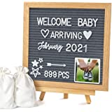 """Double Sided Felt Letter Board with Letters - 10"""" x 10"""" Rustic Wood Frame Message Board with Changeable Letter Boards Include"""
