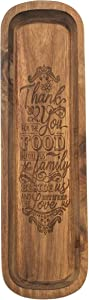 Thank You Food Family Love Brown 14 x 4 Wooden Decorative Dough Bowl Server