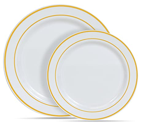 Select Settings [60 COUNT] White with Gold Rim Plastic Disposable Plates 30 Dinner  sc 1 st  Amazon.com : white disposable plates - Pezcame.Com