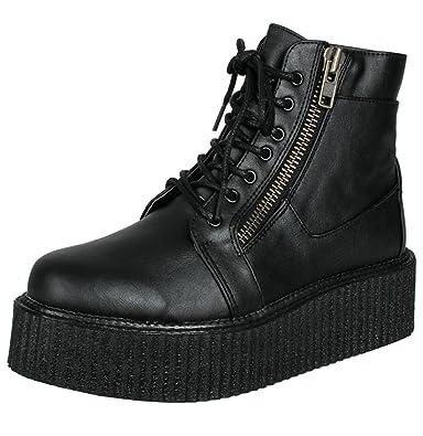 best service 31ae6 a5434 SharpSpirit Creeper Platform Lace Up Rocker Cyber Punk Military Street Wear  Mens Boots 4 Black