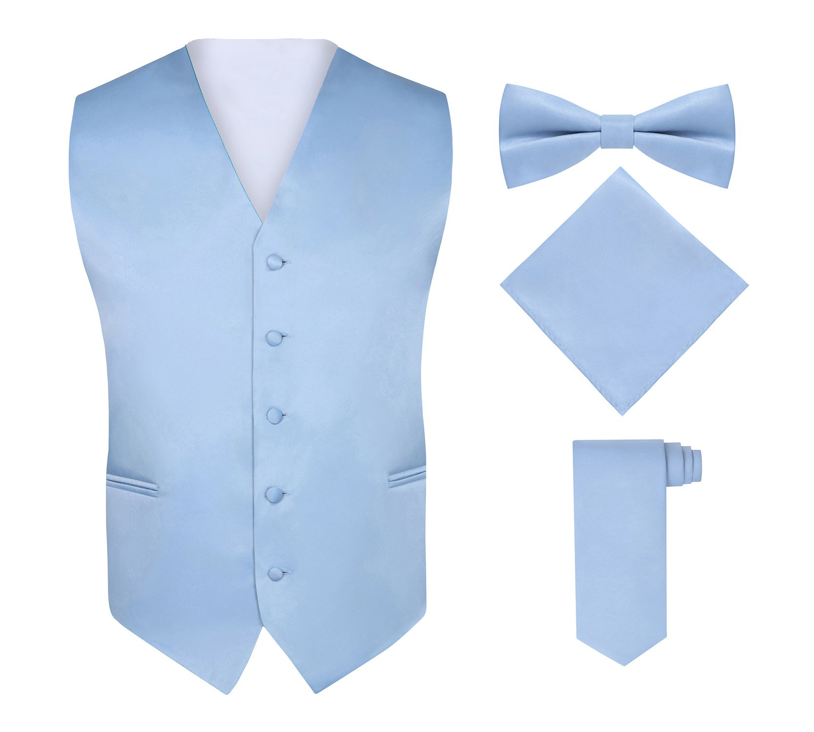 Men's 4 Piece Vest Set, with Bow Tie, Neck Tie & Pocket Hankie - Light Blue, M