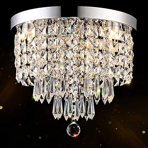 DLLT Crystal Chandelier Lighting, 3-Lights Modern Flush Mount Ceiling Crystal Light Fixture, H9.4 x W9.8 Mini Modern Chandelier Lighting Fixture for Bedroom, Hallway, Bathroom, Kitchen, Bar