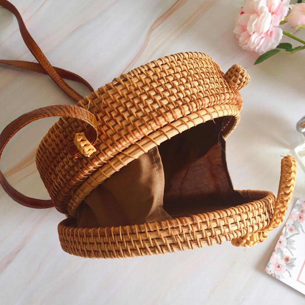 Bohemia Estilo de la Mano Vintage a la Mode Rattan Paja Tejida Bolsa Redondo Bow Bolsa de Playa Bolsa de Almacenamiento con la casa para Las Mujeres Fancylande Bolsa de plag