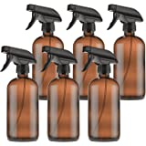 Empty Amber Glass Spray Bottles with Labels (6 Pack) - 16oz Refillable Container for Essential Oils, Cleaning Products…
