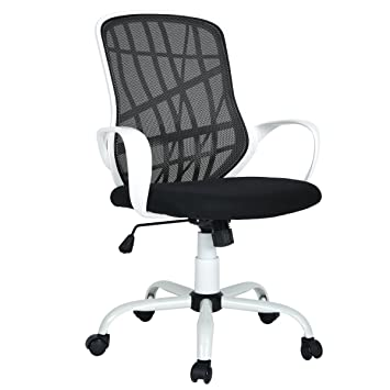 Astounding Furniturer Office Chair Adjustable Mesh Computer Chair Swivel High Back Home Desk Chair White Black Machost Co Dining Chair Design Ideas Machostcouk