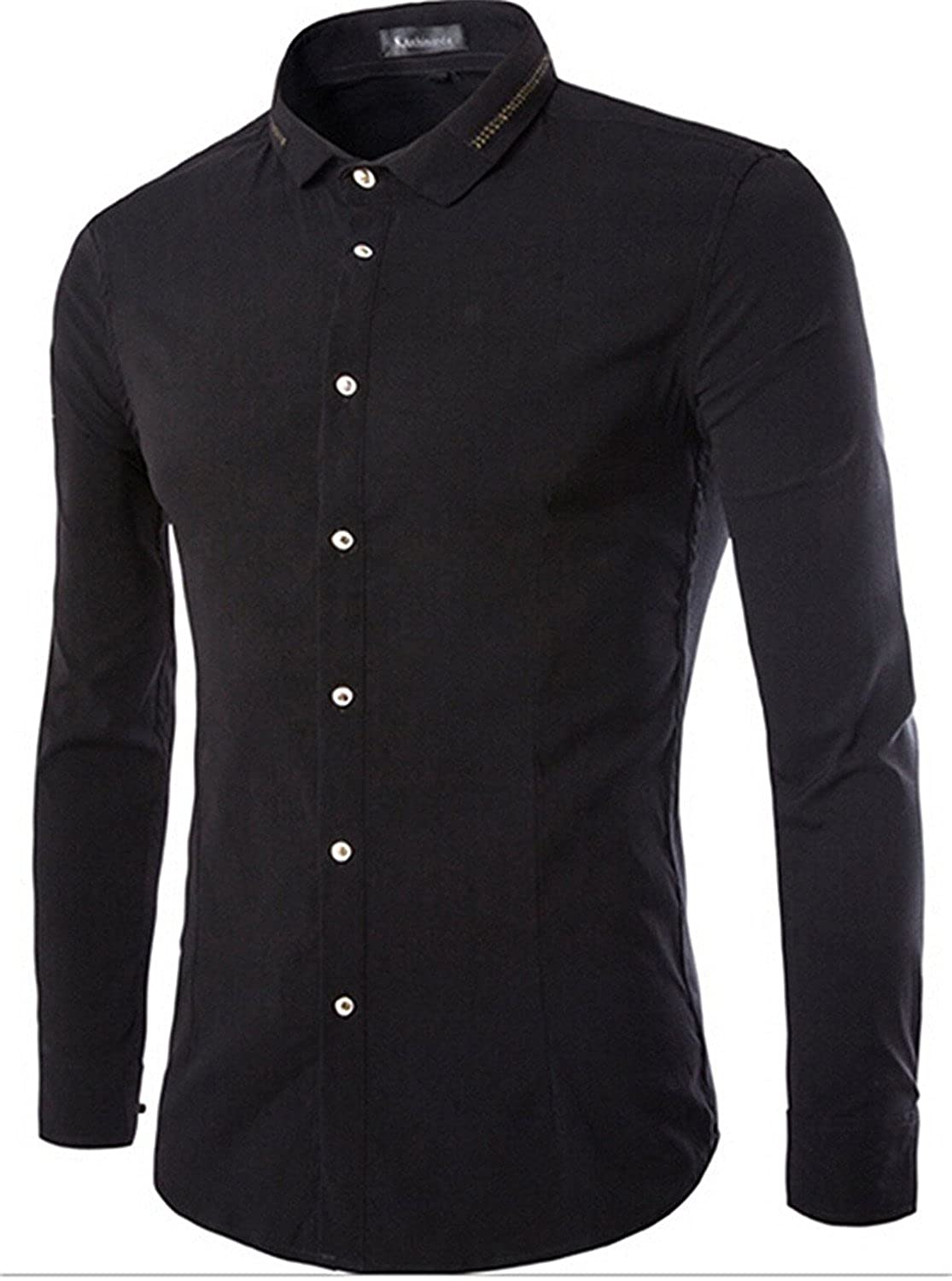 KDHJJOLY New Men Vouge Solid Autumn Slim Button-Up Shirts