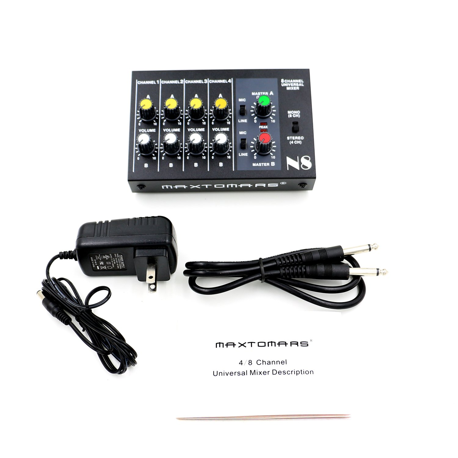 Amazon.com: MAXTOMARS® N8 4 Stereo / 8 Mono Channel, Mini Mixer 8 ...