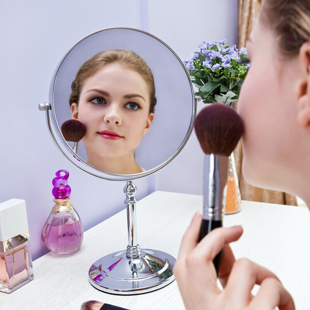 GF Wood 8-Inch Diameter 10X Magnifying Makeup Mirror Smooth 360 Degrees Rotation Dual Side Mirror by GF Wood (Image #3)