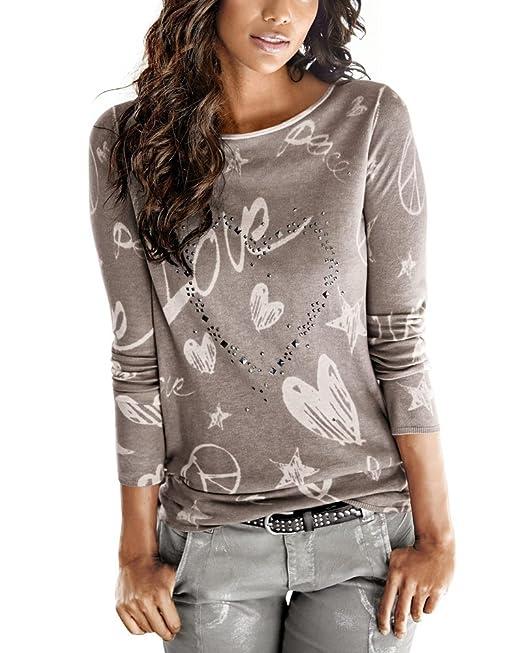 Minetom Mujeres rayadas patchwork elástico casual Manga larga blusa Tops camisa Café ES 34