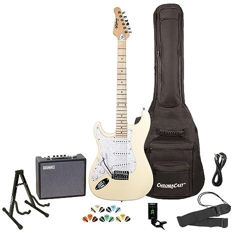 Sawtooth ST Style Guitarra eléctrica para zurdos, con golpeador de 3 capas.Incluye: