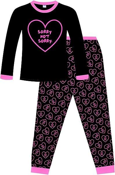 PyjamaFactory - Pijama de algodón para niña (11 a 16 años), Color Rosa y Negro: Amazon.es: Ropa y accesorios