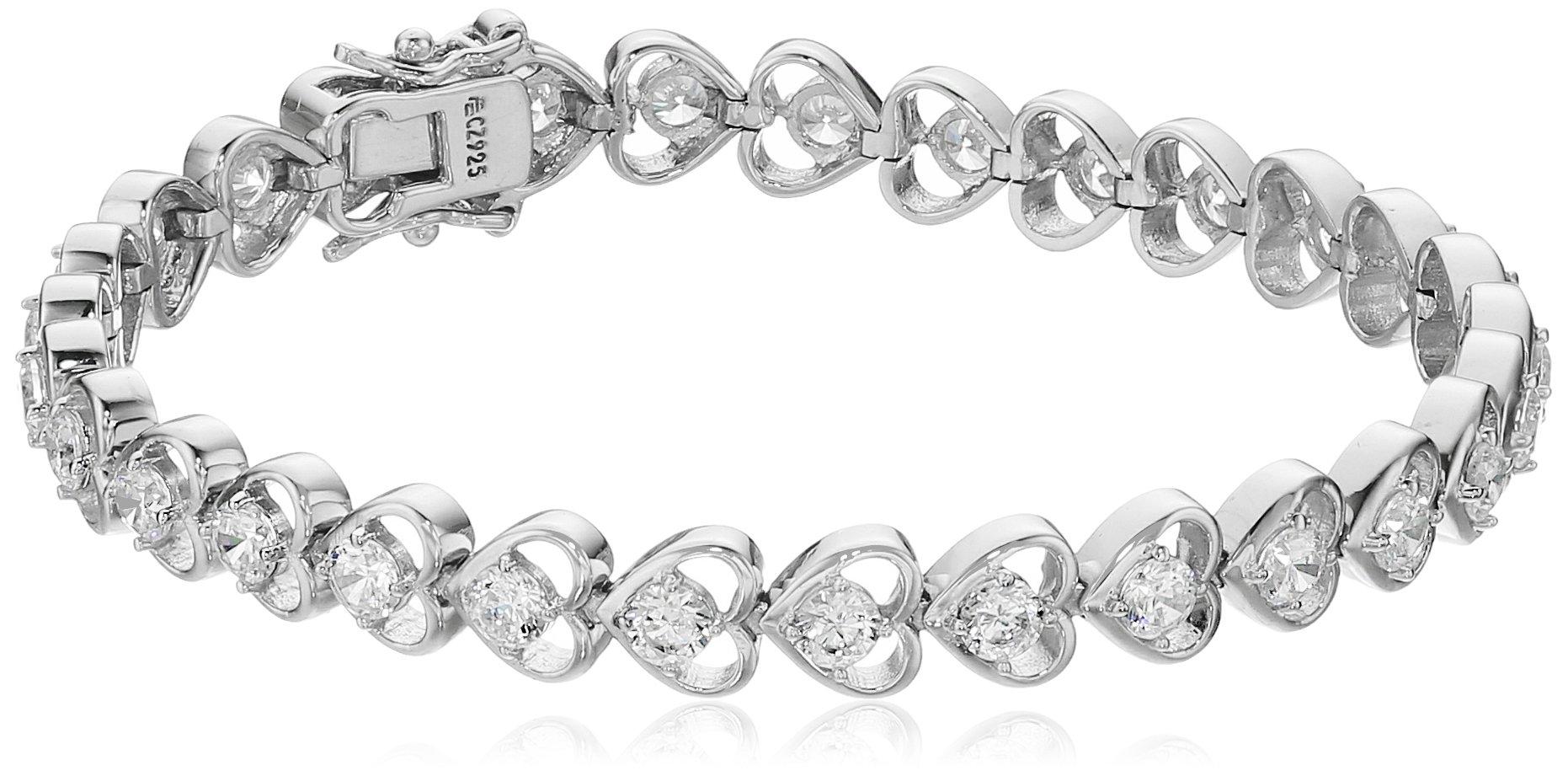 Platinum-Plated Sterling Silver Swarovski Zirconia Heart Tennis Bracelet, 7.5''
