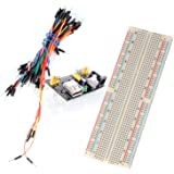 Neuftech® 3 en 1 Breadboard 830 Points Plaque Platine d'Essai Sans Soudure Solderless +Breadboard Power Supply Module Compatible 3.3V 5V module de puissance MB-102 +65 Câbles Jumpers