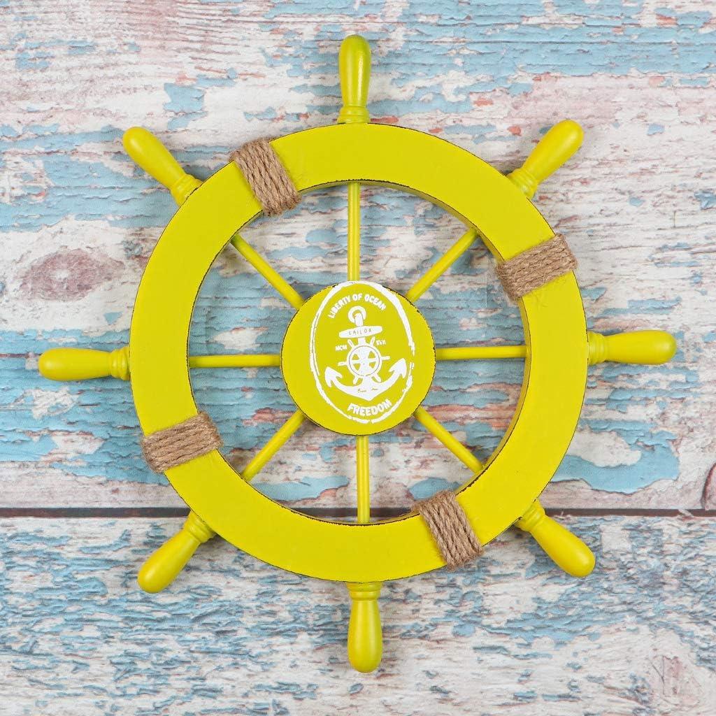 MDLUU Wooden Ship Wheel 11 Inches, Ship Rudder Decor, Helm Wheel Wall Hanging Ornament for Mediterranean Nautical Bathroom, Party Decor (Yellow)