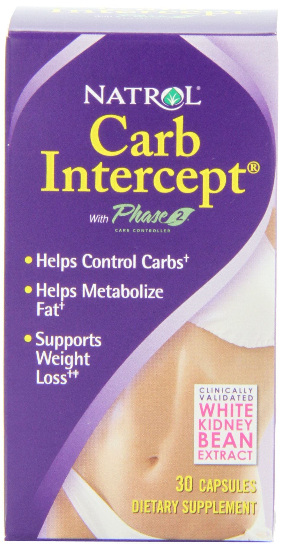 Natrol Carb Intercept with Phase 2 Starch Neutralizer, 30 Capsules (Pack of 3)