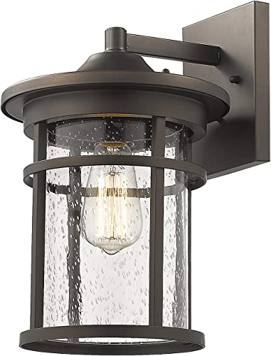 Bestshared Outdoor Wall Mount Light Fixture, 1-Light Wall Sconce Mounted Light, Exterior Wall Lantern with Seeded Glass Shade Oil Rubbed Bronze, 14 Height