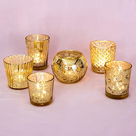 Christmas Tablescape Decor - Luna Bazaar Assortment of 6 Gold Mercury Glass Votive Candle Holders