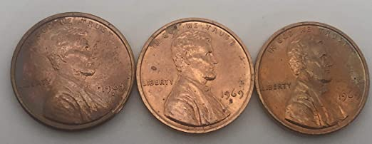 1969 P D S Lincoln Memorial Cent Penny BU Brilliant Uncirculated Set From Rolls