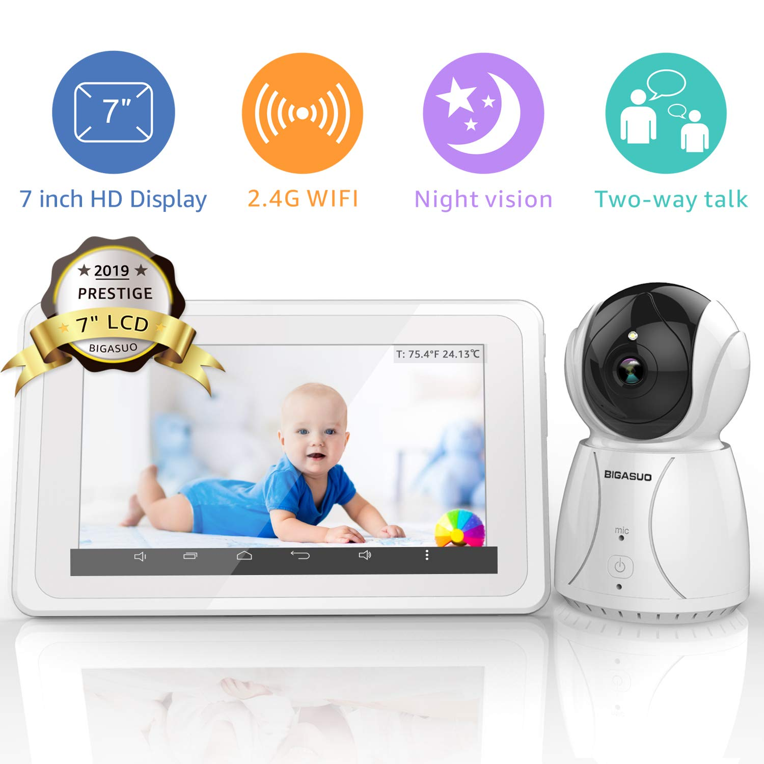 """BIGASUO Video Baby Monitor with Camera Wireless Digital 720P 7"""" HD LCD Screen, Two Way Talk,5 Baby Lullabies, Sound & Movement Alarm, Night Vision,Temperature Alert with WiFi 2019 Upgrade"""