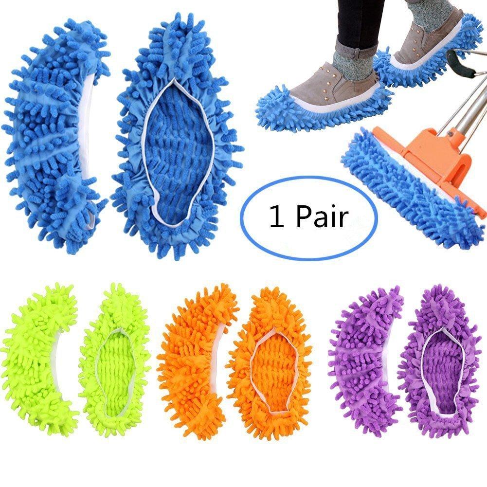 2 pz 1 paia Duster Mop Pantofole Scarpe Copertura, Multi Funzione Ciniglia Fibra Lavabile Piano Pulizia Scarpe per Bagno Ufficio Cucina Casa Lucidatura Pulizia, Gspirit (1)
