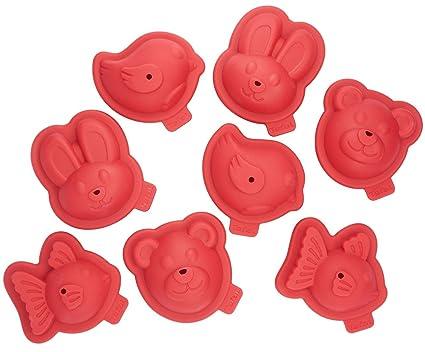 Tefal j409s814 Proflex Kit 8 moldes Patisserie Forma Animales 3D Rojo: Amazon.es: Hogar