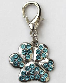 product image for Diva-Dog Blue Crystal Paw or Bone Dog Collar Charm or Keychain