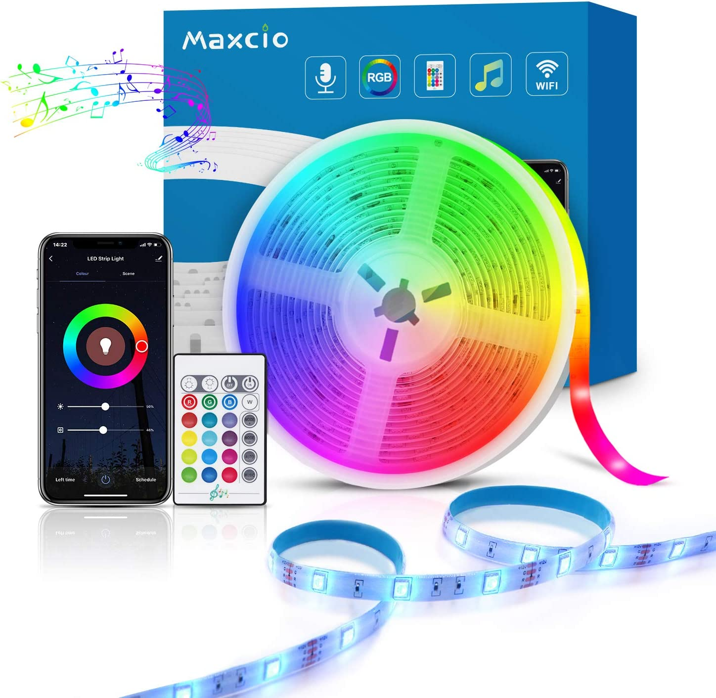Alexa Tira LED RGB Wifi, Maxcio Luces LED Regulable Control de Voz y APP, Google Home Tira LED Sincroniza con la Música, 16 colores 150 Leds con Control Remoto, Decorativas para Fiesta, TV (5M)
