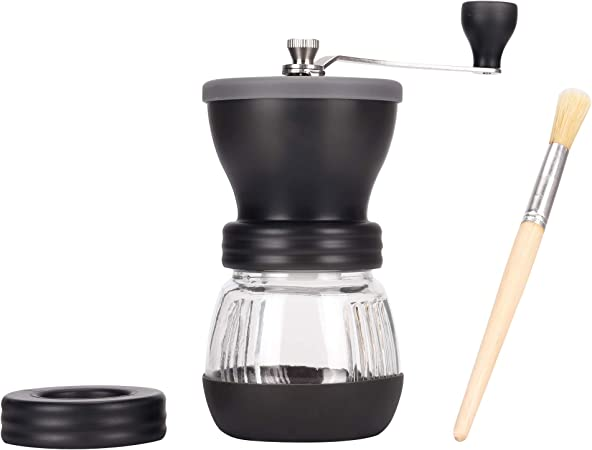Wsl Manual Coffee Grinder With Ceramic Burrs Manual Coffee Bean Grinder Adjustable Grind Glass Jar Stainless Steel Built To Last Easy Cleaning