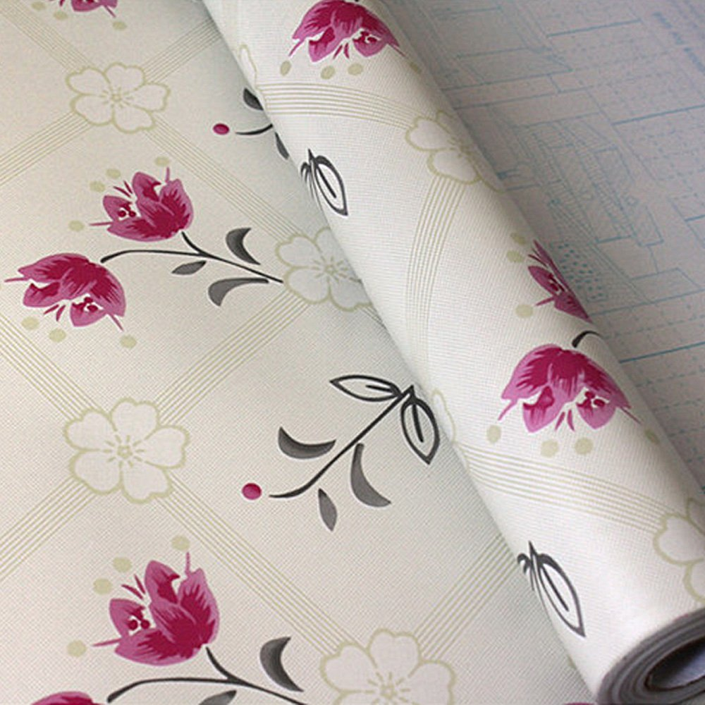 SimpleLife4U 2pcs Camellia Rose Self-Adhesive Shelf Drawer Liners PVC Contact Paper,18-Inches by 9.8-Feet