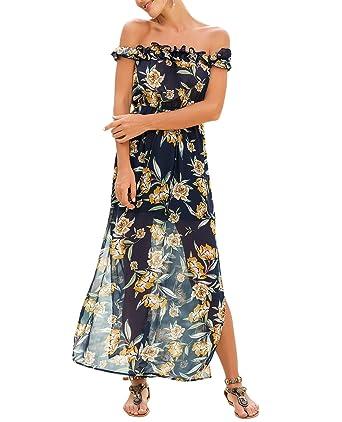 11911862f750 T.SEBAN Off Shoulder Maxi Dress Beach Floral Summer Dresses for Women  (Small