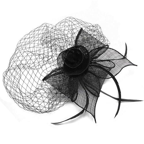 JING Sombrero de Plumas Sombrero de la Flor de la Cabeza de Malla Retro del Partido Occidental del Estilo del Banquete: Amazon.es: Joyería
